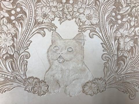 フィギュアカービング 子猫6 レザークラフ 教室 革工芸教室