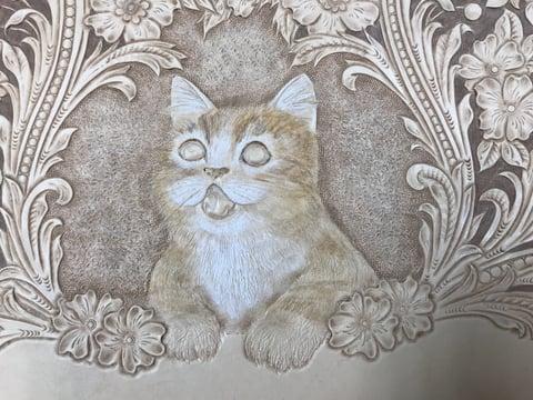 フィギュアカービング子猫着色1 レザークラフ教室 革工芸教室