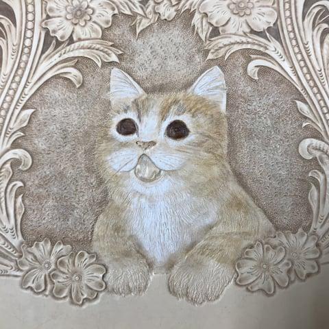 フィギュアカービング子猫着色2 レザークラフ教室 革工芸教室