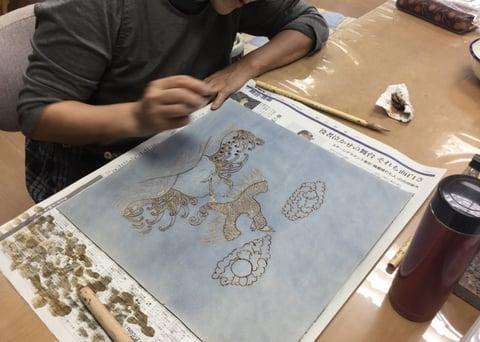 ろうけつ染線画 レザークラフト教室 革工芸教室