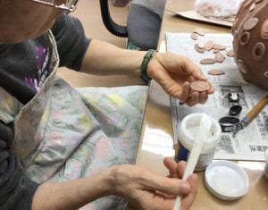 立体造形製作中 レザークラフト教室 革工芸教室