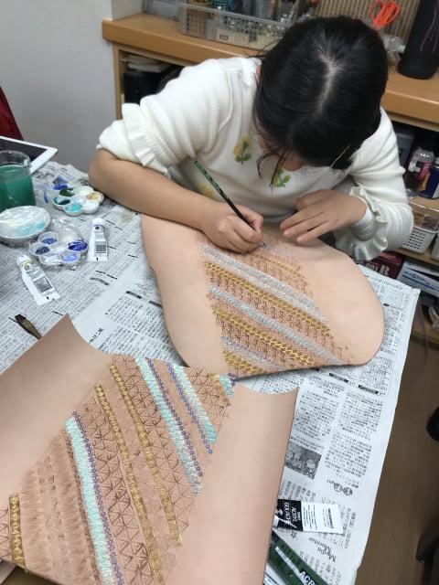 スタンピング染色中2 レザークラフト教室 革工芸教室