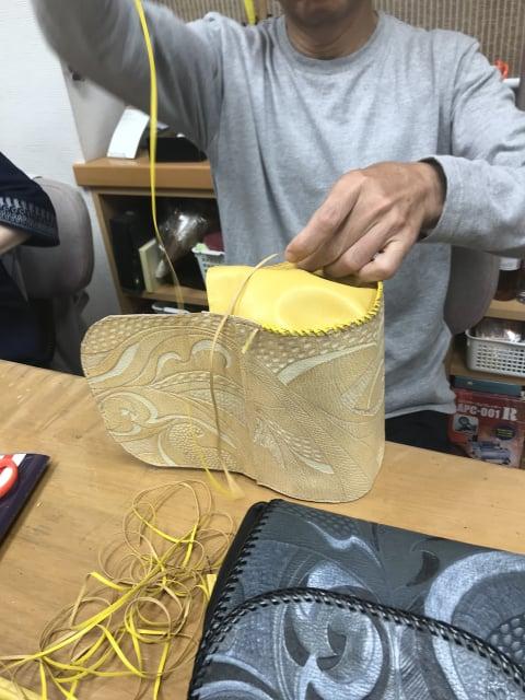 バッグレースかがり レザークラフト教室 革工芸教室