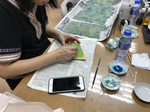 アクリル着色 レザークラフト教室 革工芸教室