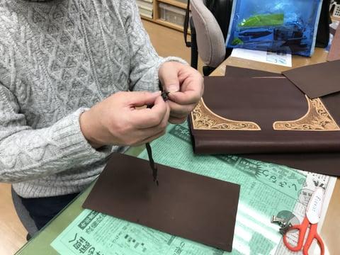 仕立て中 レザークラフト教室 革工芸教室
