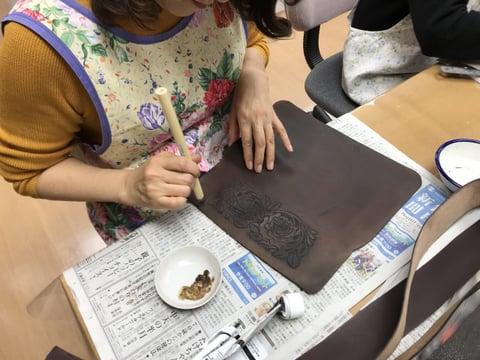 染色・梨地 レザークラフト教室 革工芸教室